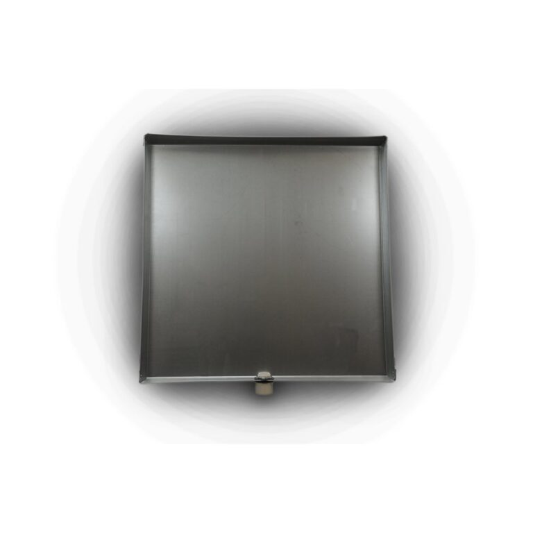 """24″ x 24"""" x 2″ Square Water Heater Drain Pan with 1″ Adapter"""